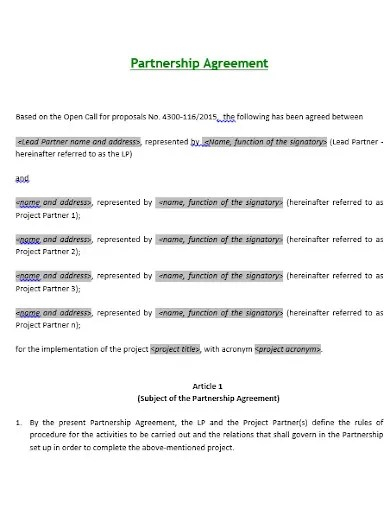 insert name of insert address and. 10 Investment Partnership Agreement Templates In Pdf Doc Free Premium Templates