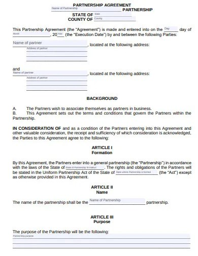 """This partnership agreement (the """"agreement"""") made and entered into this insert date (the """"execution date""""), between: 11 Small Business Partnership Agreement Templates In Google Docs Ms Word Pages Editable Pdf Free Premium Templates"""