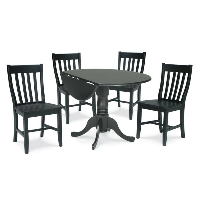 International Concepts Brynwood 5 Piece 42 In Black Round Drop Leaf Wood Dining Set With Cafe Chairs K46 42dp C61p 2 The Home Depot