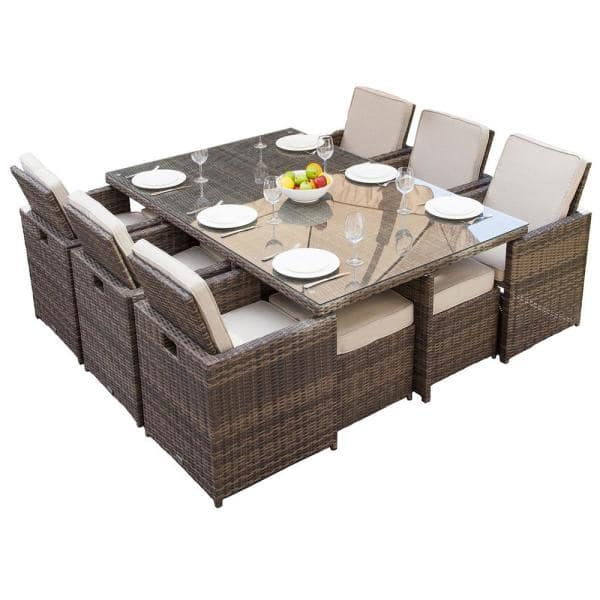 Direct Wicker Malta Variegated Brown 11 Piece Wicker Outdoor Dining Set With Beige Cushions Pad 3234 The Home Depot