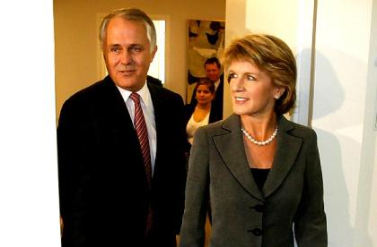 Malcolm Turnbull with deputy Julie Bishop