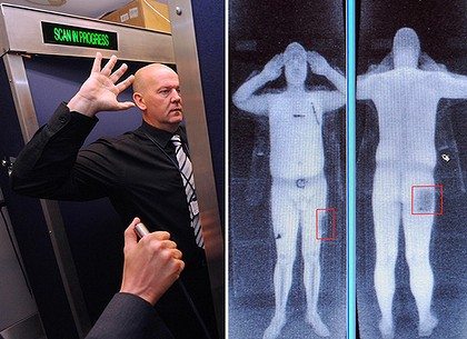 A combination of images shows an airport staff member  demonstrating a full body scan at Manchester Airport.