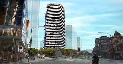 An impression of what the building will look like with William Barak's face on the facade.