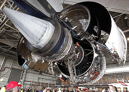 Engine trouble: An Airbus A380's Rolls-Royce engine.