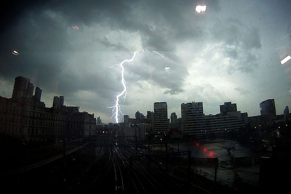 Lightning strikes the Melbourne CBD.