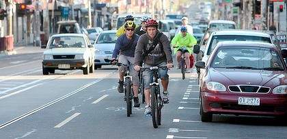 Cyclists in bound on Brunswick st Fitzroy.