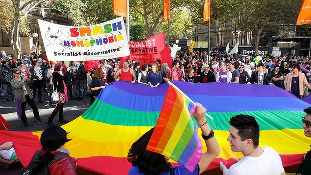 Rally for gay marriage equality at Town Hall that led to a march to Taylor Square. 12th May 2012.