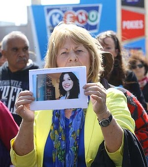 Thousands of people march in Sydney Rd Brunswick in honour of Jill Meagher and all women affected by domestic violence.  The Age. Photo: Angela Wylie. September 29 2013.