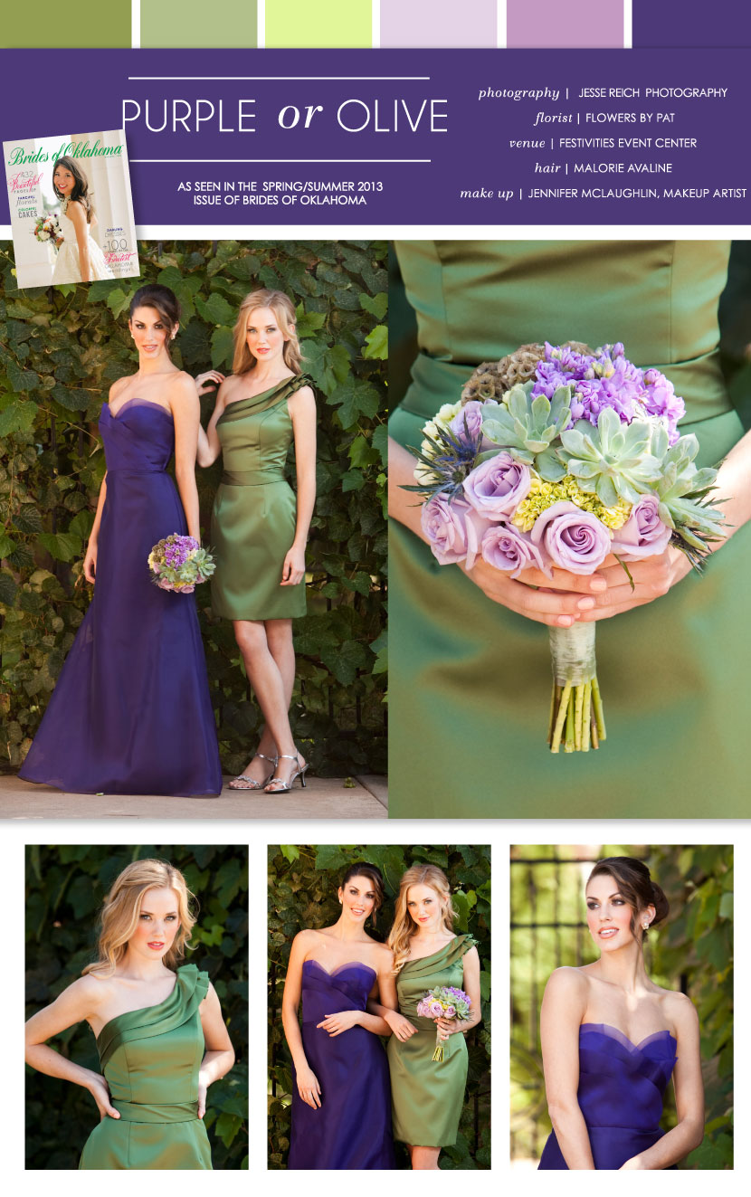 Pretty Pairings  Purple or Olive Bridesmaid Dresses