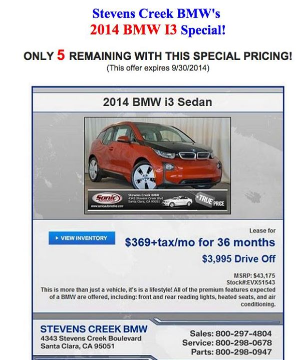 2014 BMW i3 lease deal offered by Stevens Creek BMW, Santa Clara, CA, September 2014