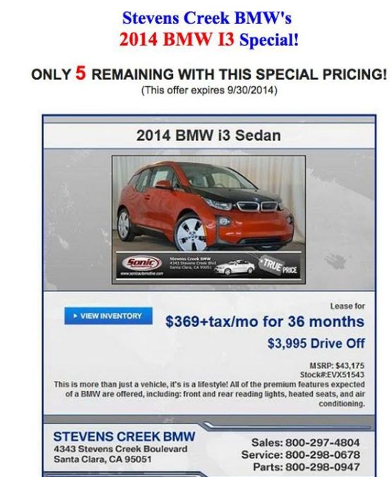 2014 Bmw I3 Lease Deals Appear 369 Month For Electric Car Techdrive