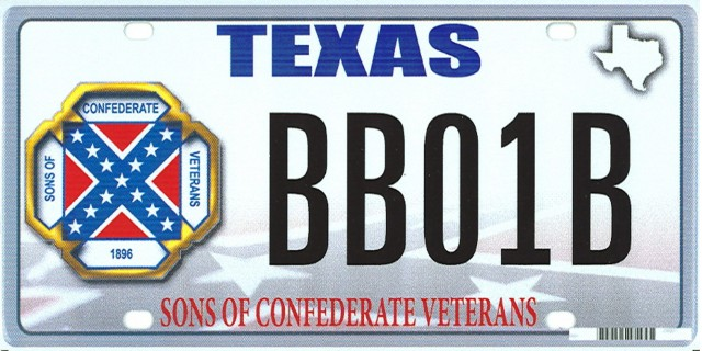 Texas license plate featuring Confederate flag