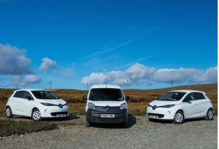 Renault Zoe and Kangoo ZE electric cars on the Outer Hebrides
