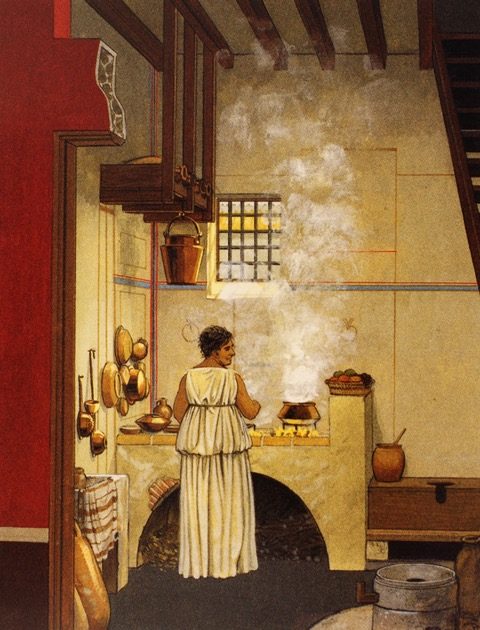 medium resolution of artist s imagining of a typical roman kitchen with toilet featured to the right of the cooking area connolly and dodge the ancient city p 148 akg images