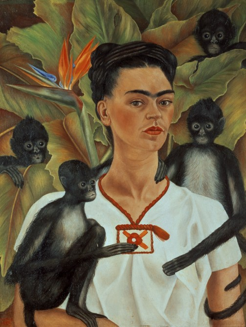 Here39s looking at Frida Kahlo39s Selfportrait with monkeys