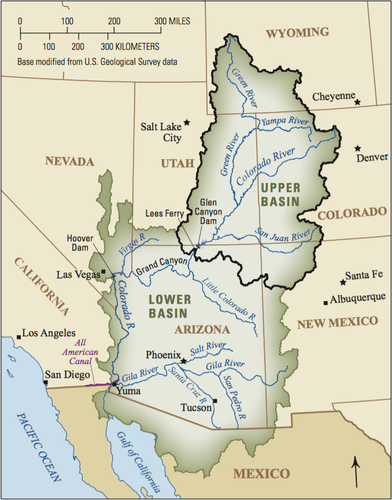 hight resolution of the upper colorado river basin supplies approximately 90 percent of the water for the entire