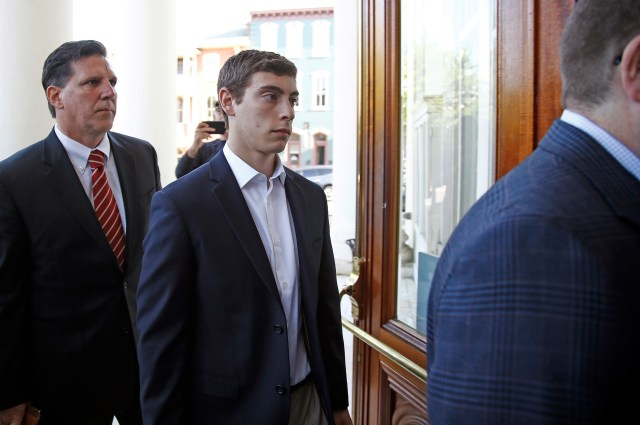 Jonah Neuman Arrives At Centre County Courthouse For A Preliminary Hearing On Charges Regarding The Death Of Timothy Piazza In A Fraternity Hazing Incident