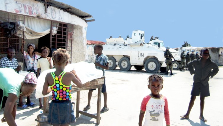 MINUSTAH soldiers, here seen in November 2016, have occupied Bois Neuf, Cité Soleil, for over a decade. Credit: Siobhán Wills