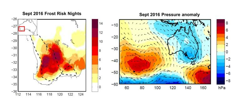 Persistent high pressure off the west coast brought cold, dry nights to WA's southwest. BoM, Author provided