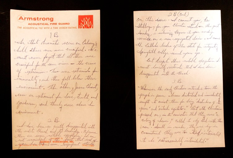 king's letter on two A5 size papers, with one copy branded with logo of a fire department
