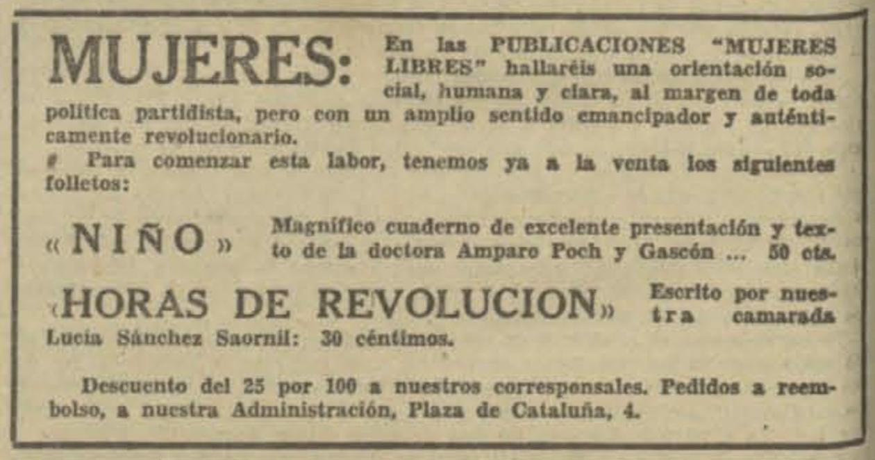 Recorte de 'Solidaridad Obrera' del 26 de junio de 1937 anunciando las publicaciones de Mujeres Libres.