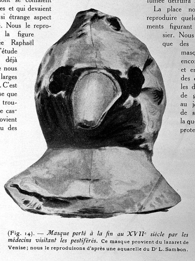 An excerpt from a textbook showing an image of a plague mask -- which resembles a bird's head - from the 17th century.