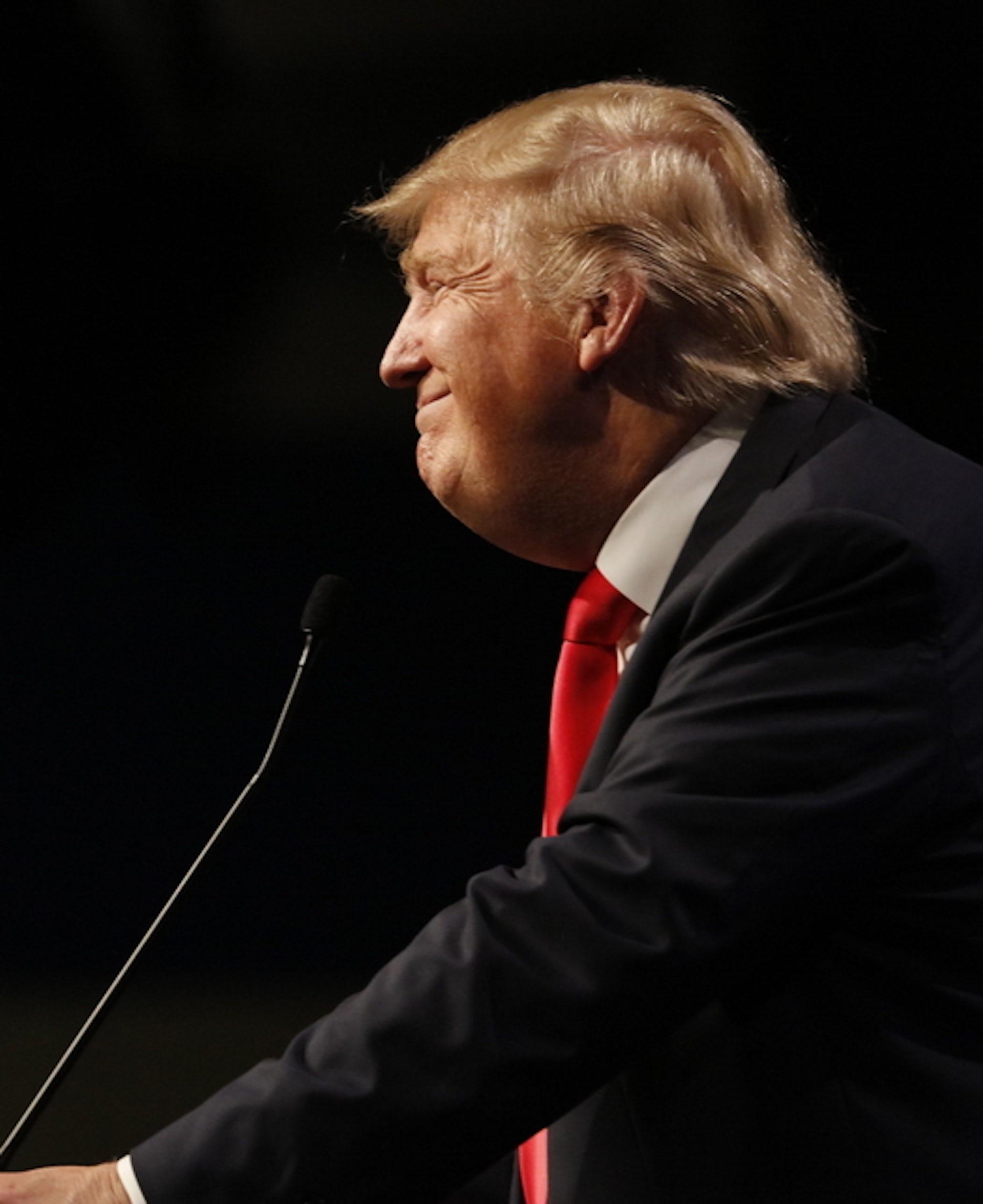 Donald Trump giving a speech.