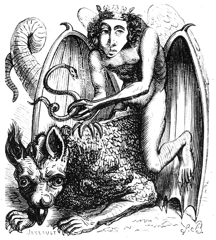 Astaroth rides a winged beast and clutches a snake.