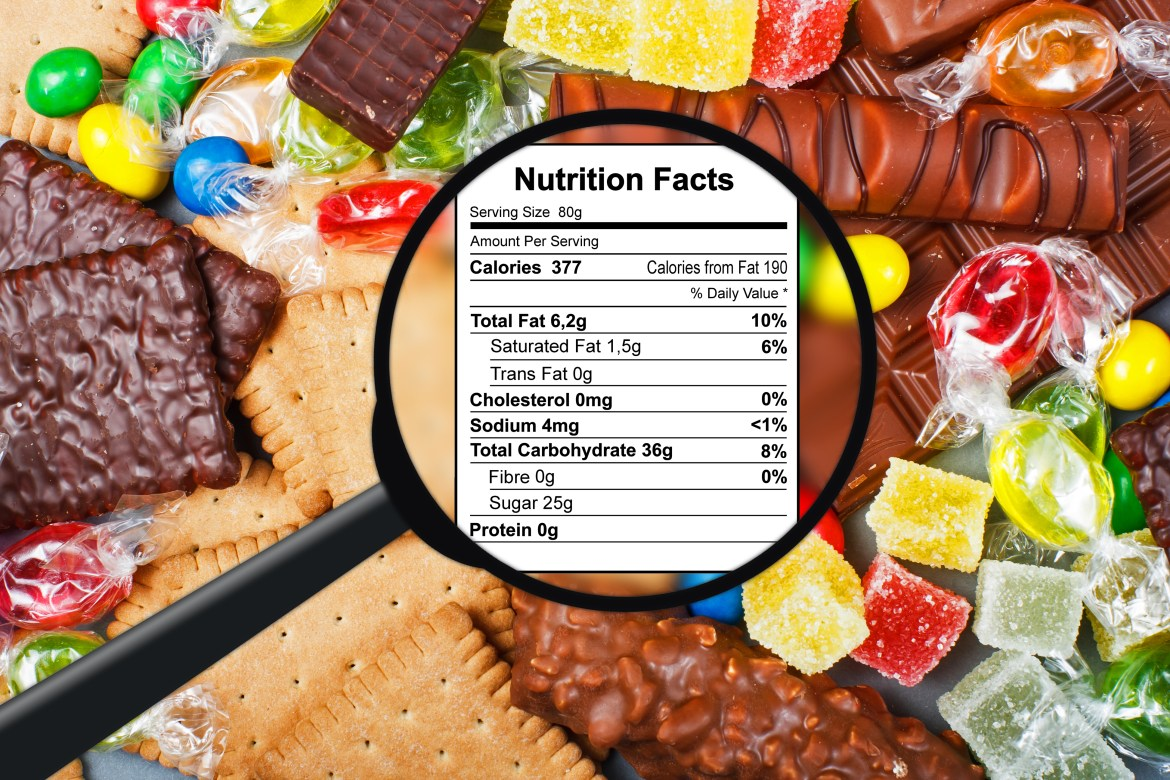 Nutrition label surrounded by candy
