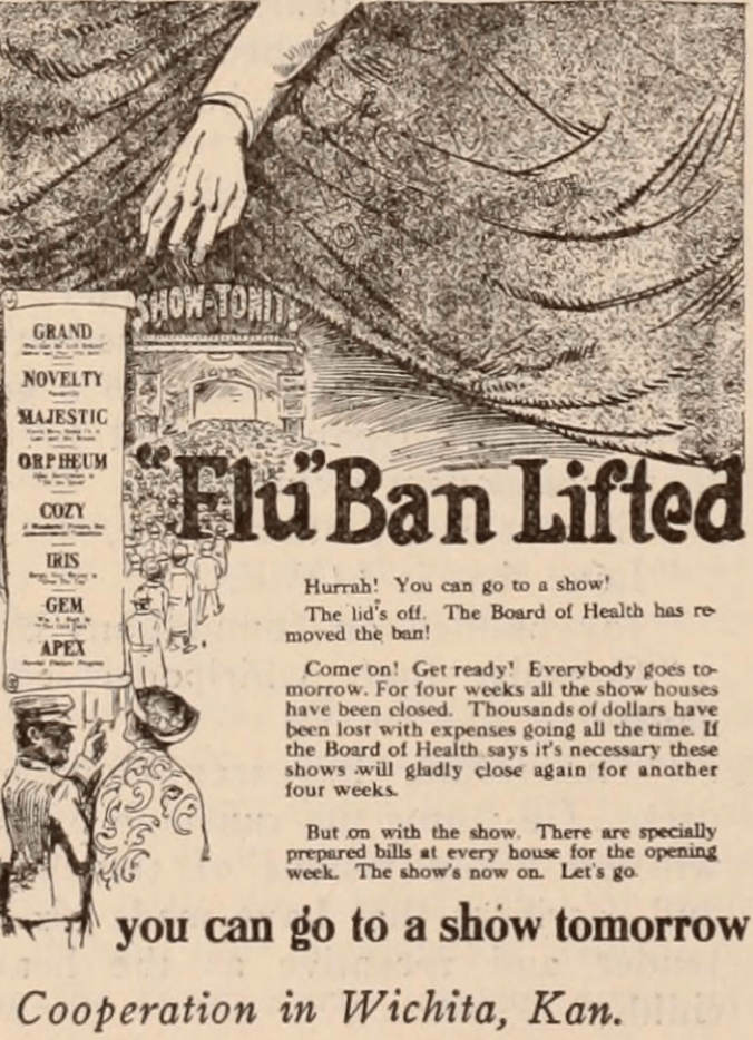 A 1918 edition of the Motion Picture News announces the lifting of a 'flu ban.'
