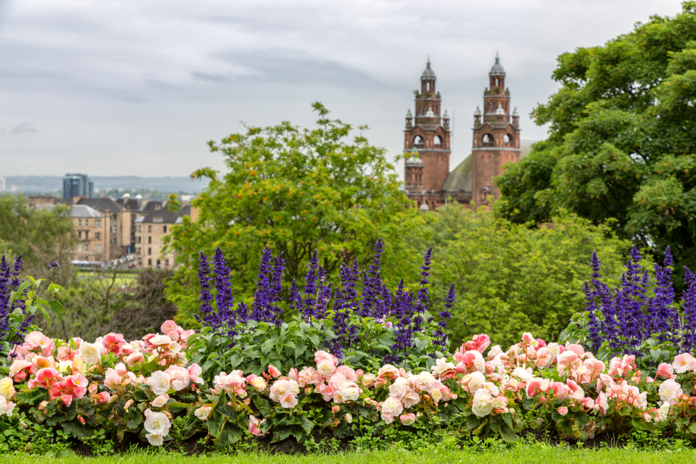 View of Kelvingrove Art Gallery from Kelvingrove Park, Glasgow.