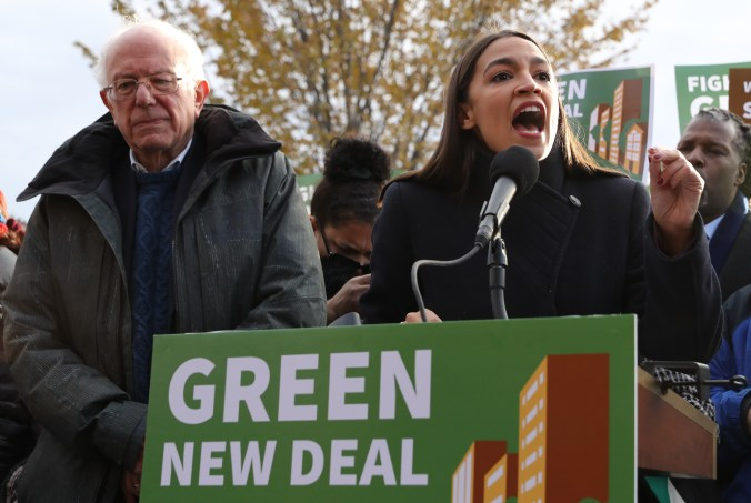 Democratic presidential candidate Sen. Bernie Sanders and Rep. Alexandria Ocasio-Cortez hold a news conference to introduce legislation to transform public housing as part of their Green New Deal proposal.