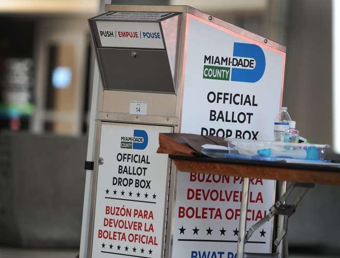An official ballot drop box in Miami, Florida.