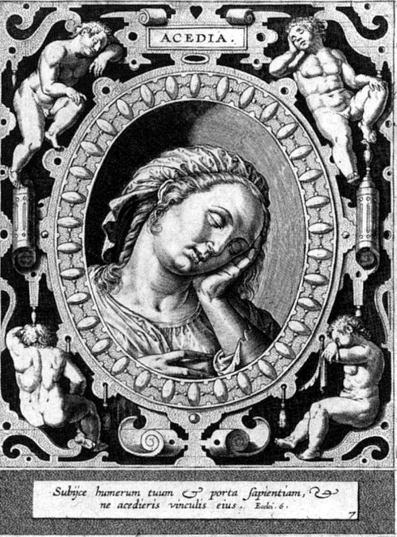 Engraving of person looking half asleep