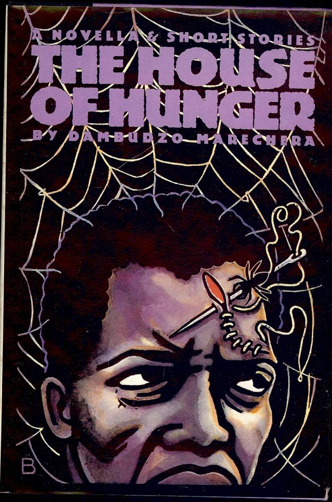 Book cover with an illustration of a man against a spider's web, a spider with a needle stitching a long cut on his forehead.