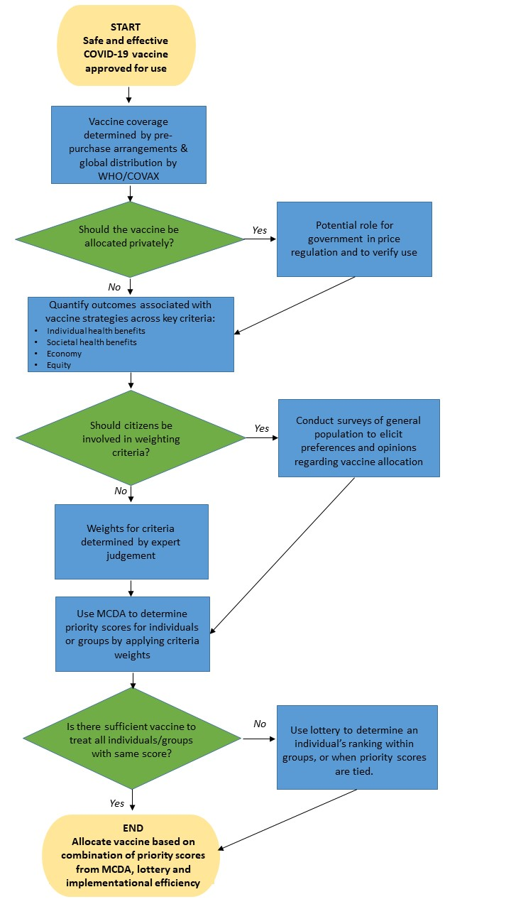 Flowchart of decisions governments must make about allocating a vaccine