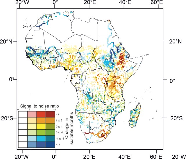 Map of Africa showing future malaria hydro-climatic suitability.