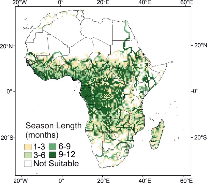 Map of Africa showing current malaria climatic suitability.