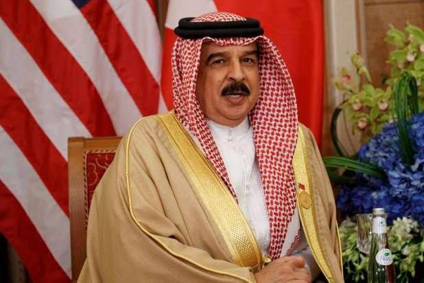 Bahrain's King Hamad bin Isa Al Khalifa in mid-sentence.