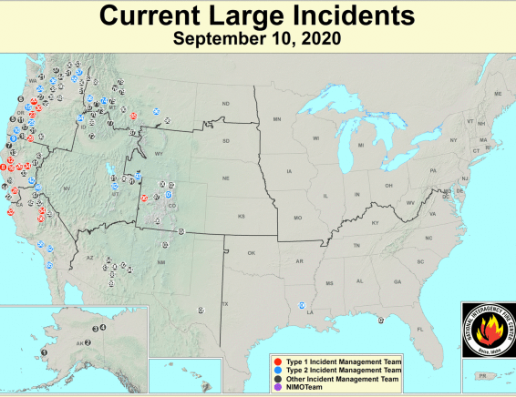 Map of large fire incidents in the United States.