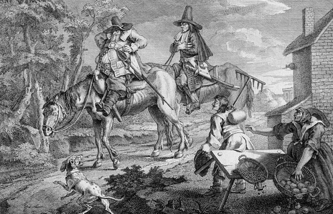 Two men on horses surprise two other people and overturn table. Dog barking in foreground.