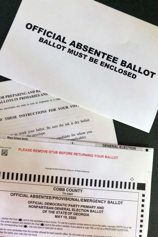 A sample ballot from Cobb County, Georgia.
