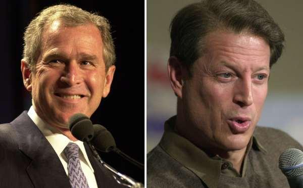 Photos of George W. Bush and Al Gore