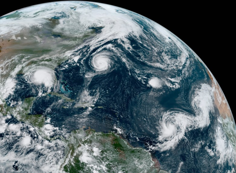 Satellite image of five tropical storms.