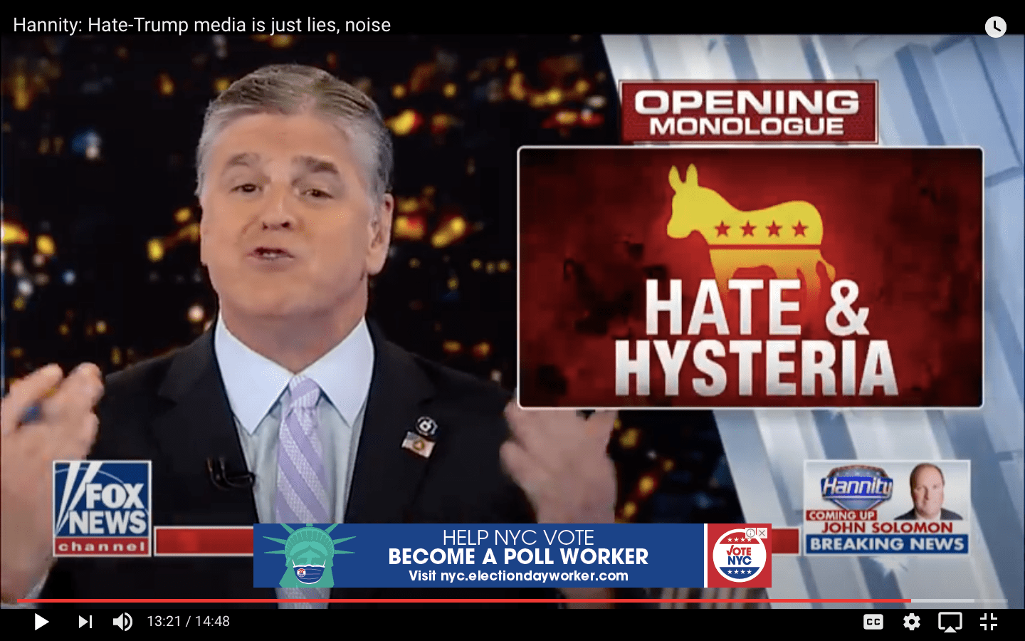 Screenshot of Sean Hannity on Fox News with text reading 'Hate & Hysteria' across the Democratic donkey symbol