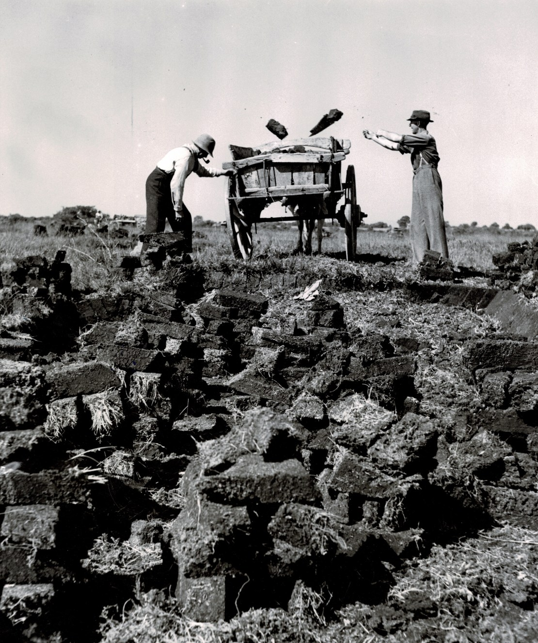 Two people load chunks of solid earth into a cart.