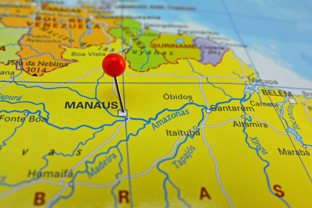 Manaus, Brazil, marked out on a map with a red pin.