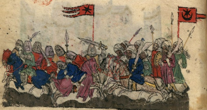 Troops clash in a 14th-century illustration of the Battle of Yarmouk.