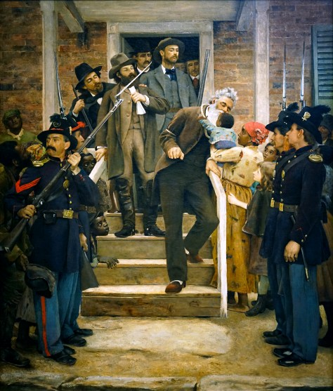 John Brown kisses a Black baby on the way to his execution.