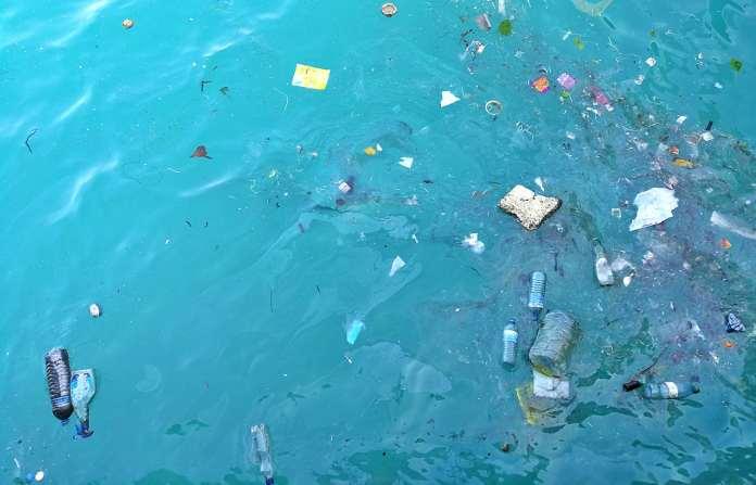 Plastic waste floating in the ocean